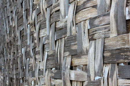 spiffy: The wicker and bamboo made wall Stock Photo
