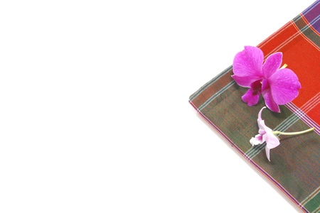 Thailand silk adorned with orchids Stock Photo - 21953604