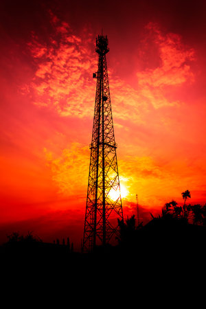 reception antenna with orange sky photo