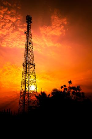 reception antenna with orange sky