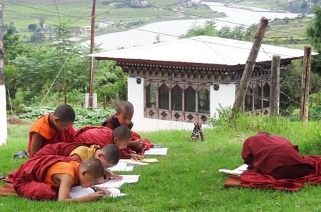 PARO,BHUTAN -  SEPTEMBER 4    Novices learn the teachings of the Buddha on September 4,2013 in Paro,Bhutan Editorial