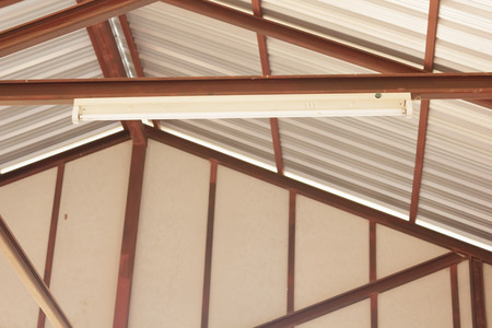 Fluorescent bulbs on the roof structure photo