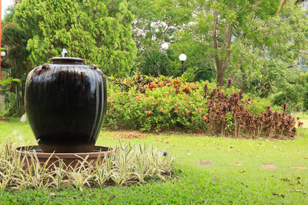 water feature: pot Fountain Stock Photo
