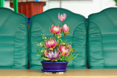 Vase of flowers on the table photo