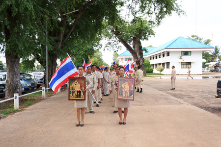 mahasarakham: MAHASARAKHAM,THAILANDS - AUGUST 8   Village Headman and Leader went on a campaign in the district on august 8, in Mahasarakham,Thailand Editorial