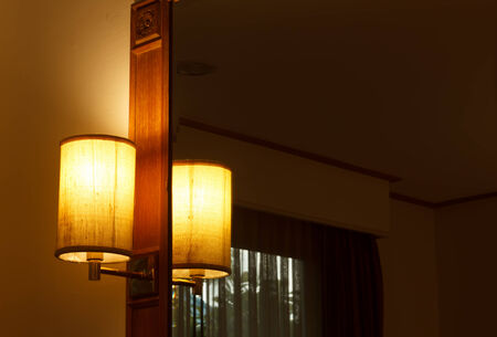 bedside: Lamps in the bedroom Stock Photo