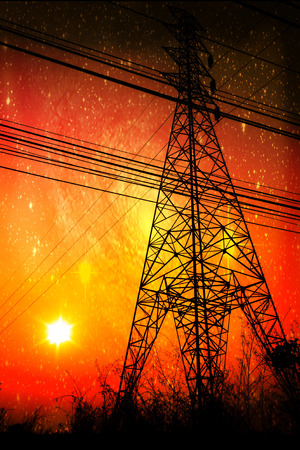 High voltage power pole middle of a cornfield with orange sky and galaxy photo