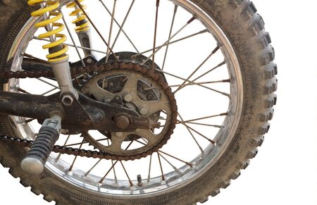 Motorcycle sprocket and chain on white background Standard-Bild