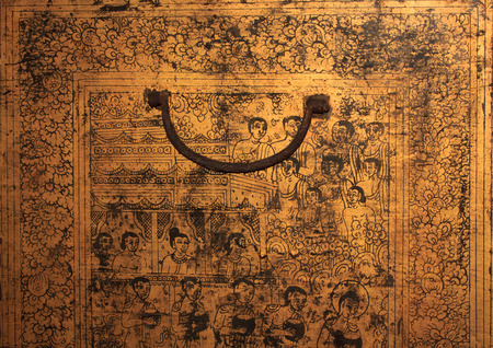 tibetan house: Ancient paintings on wooden box Stock Photo