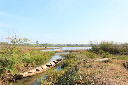 swamps: Boats in the swamps with blue sky