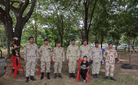 Authorities dressed in camouflage standing in line waiting to be perform in Chulalongkorn Day.Mahasarakham,Thailand,October 2016