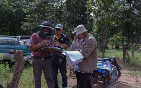 coordinates: Technicians is find satellite coordinates for boundary line between the district dominance.Mahasarakham,Thailand,September 2016