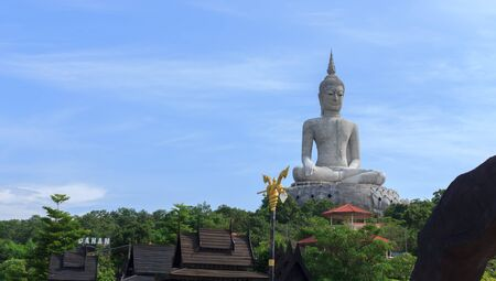 Buddha statue in a temple on the mountain of Thailand.