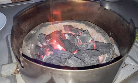 Charcoal stove for cooking Stock Photo