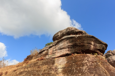 Big rocks on the mountain with the sky Stock Photo