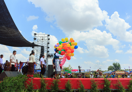 Chairman open local tradition by releasing balloons.Mahasarakham,Thailand,April 9,2017 Editorial