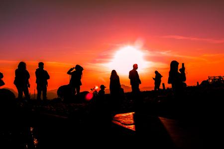 december 25: Tourists watch the sunrise on a beautiful morning.Phetchabun,Thailand,December 25,2016
