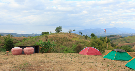 Tent accommodation on the mountain.