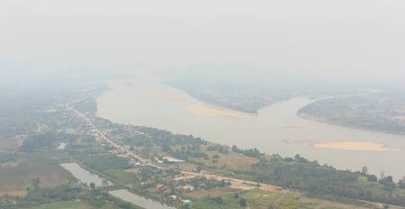 Mekong River in the middle of Thailand and Laos. Stock Photo