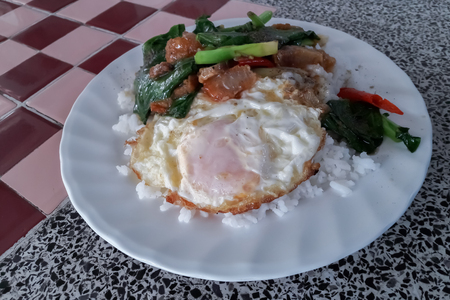 Thailand food in a dish on the table.