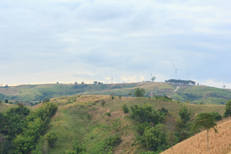 Wind turbines on mountain.