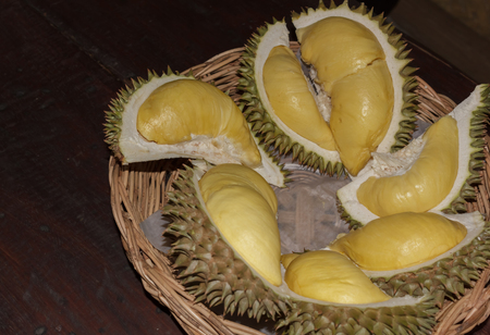 Delicious durian in a container.