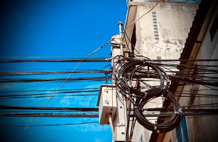 Transformer on pole. Stock Photo