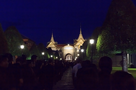 Many people pay homage to the Thai king who died in the royal palace of Thailand.Bangkok,Thailand, February  2,2018 Editorial