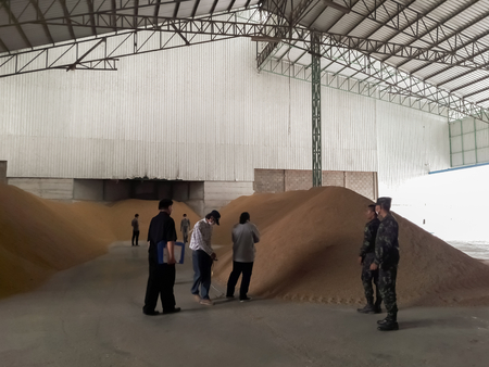 Government officials are inspecting rice in storage.Mahasarakham,Thailand, February 2,2018