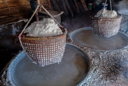 Traditional production of salt Stok Fotoğraf - 119599876