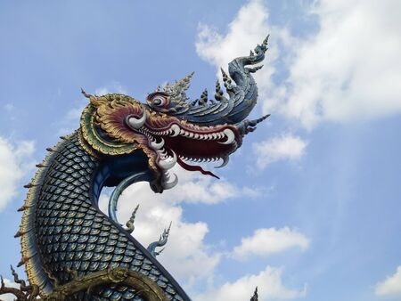 Beautiful Naga statue in Thai temples Stok Fotoğraf - 128046361