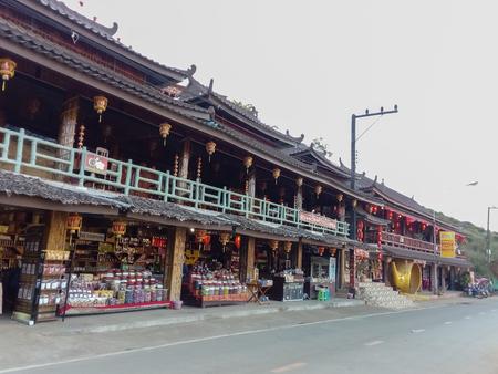 Mae Hong Son/Thailand-February 9 2019:Gift shop at Ban Rak Thai for tourists