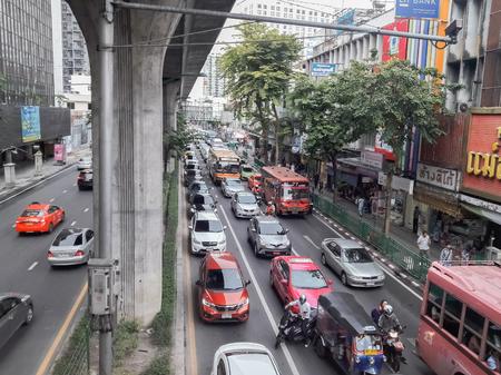 BangkokThailand-November 10 2018:Traffic congestion on the split in Thailand. Editöryel