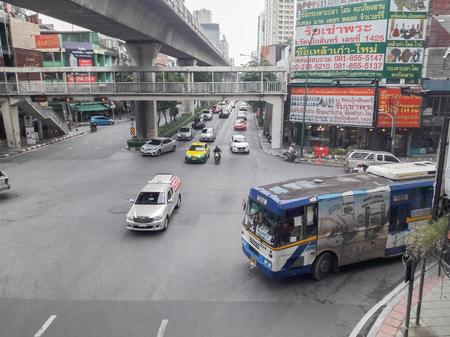 Bangkok/Thailand-November 10 2018:Traffic congestion on the split in Thailand.