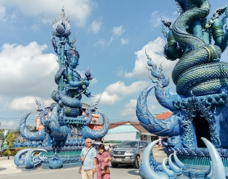 ChiangraiThailand-November 25 2018:Tourists see beautiful temples in Thailand.