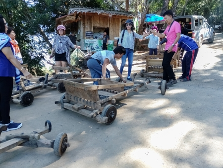 Chiangmai/Thailand-November 25 2018:Cars made of wood for tourists driving Editöryel