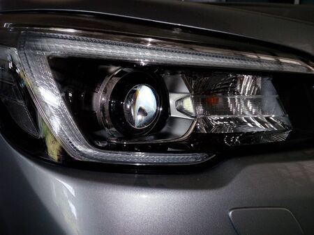 A beautifully shaped car headlights Stok Fotoğraf - 132363620