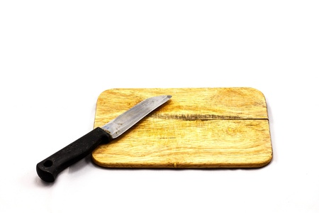 chop: Chop board   knife isolated on white