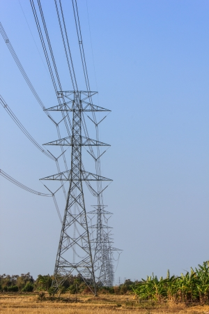 electric utility: High Volage power tower line with blue sky Stock Photo