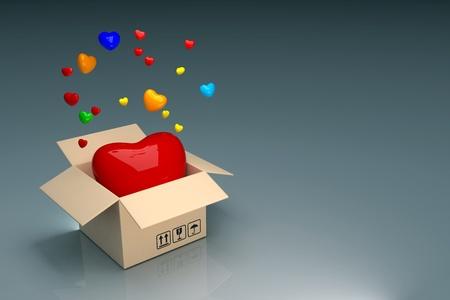 hearts in the box Stock Photo - 12117499