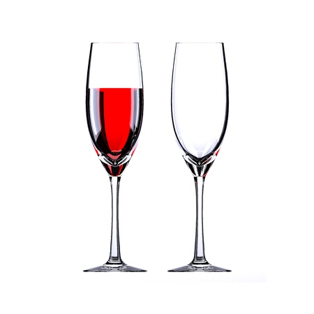 red wine and empty wine glass Imagens