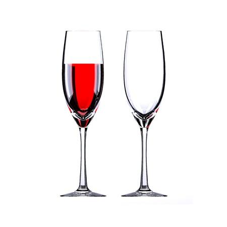 rode wijn en leeg wijnglas