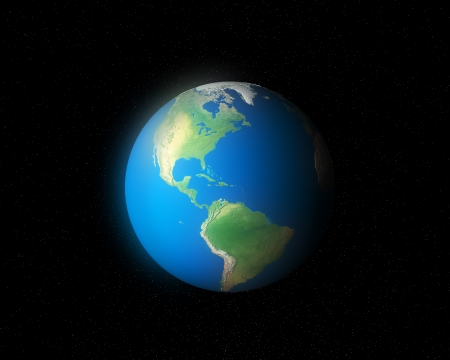 3d global earth north   south america map photo
