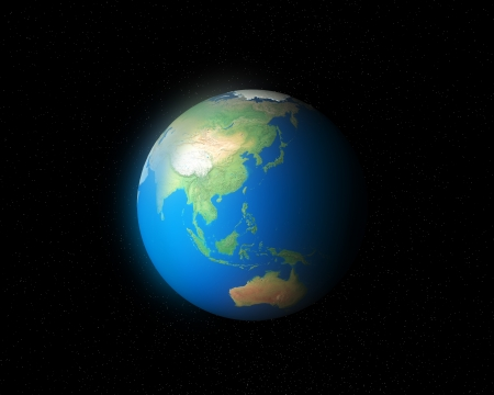 3d global earth asia map photo