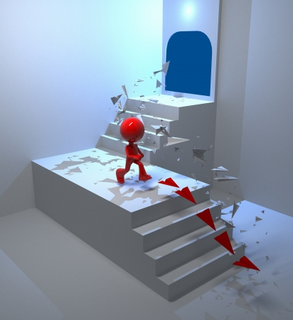 3D man abstract concept down steps photo