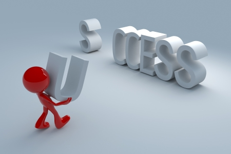 3d man lifting successful concept  Banco de Imagens