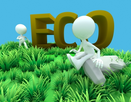 3d man eco concept in field and blue sky background  photo