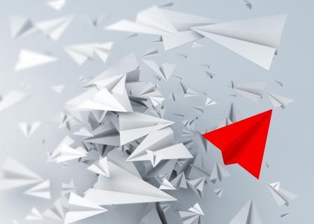 3d papieren vliegtuig snijden kunst concept abstracte achtergrond Stockfoto