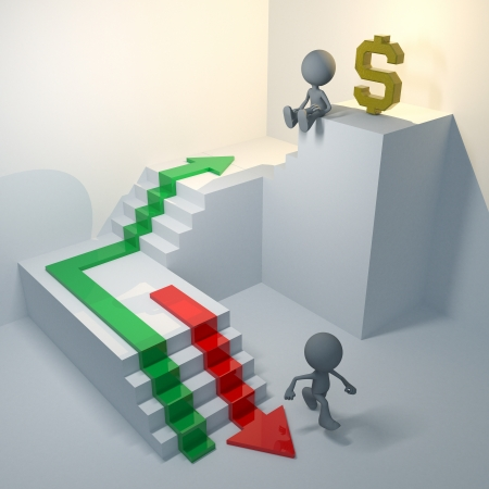 3d man successful and fail step growth rate money stock market and dollar sign photo