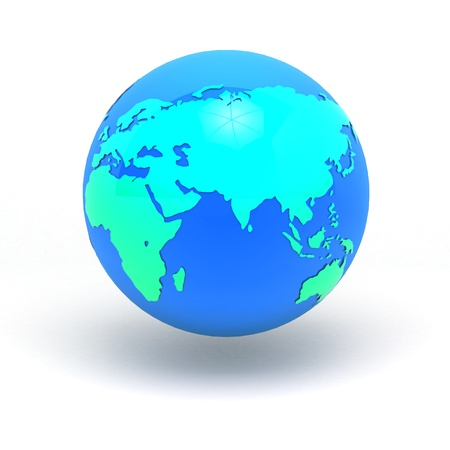 3d earth sphere graphic concept Africa, Europe & east asia in isolated clipping path include  photo